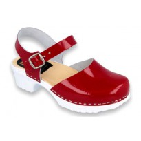Nina Red PU+wood soles Leather Red Patent
