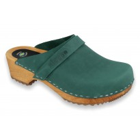 Green Klogga Wooden Clogs Nubuck