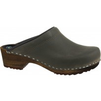 PULL-UP BROWN Wooden Clogs Nubuck