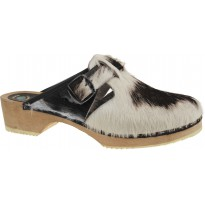 B&W COW 2 Wooden Clogs Cow Hide