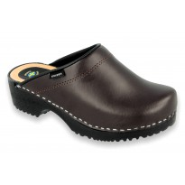 Comfort Clogs PU+Wood Soles Leather Brown