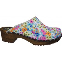 BLUE FLOWERS Wooden Clogs Embroidered