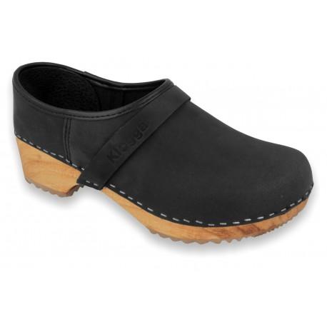 V-Black Wooden Clogs Nubuck