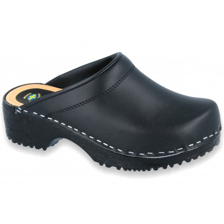 Comfort Clogs PU+Wood Soles Leather Black