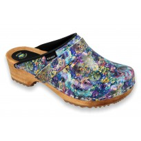 MYSTIC Patent Leather Wooden Clogs