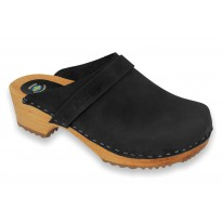 Black Klogga Wooden Clogs Nubuck