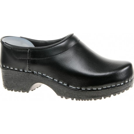 Comfort Closed Back Clogs PU+Wood Soles Leather Black