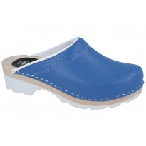 MultiComfort Clogs PU+Wood Soles Leather Blue