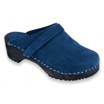 Deep Blue navy suede wooden clogs