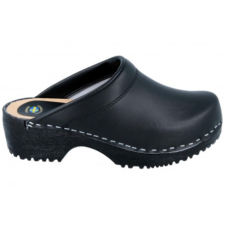 Comfort Clogs PU+Wood Soles Leather Black