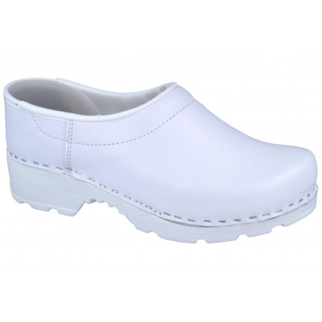 Comfort Closed Back Clogs PU+Wood Soles Leather White