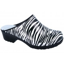 Comfort Flex Clogs PU soles Patent Leather Zebra