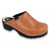 Comfort Clogs PU+Wood Soles Leather Antic Brown