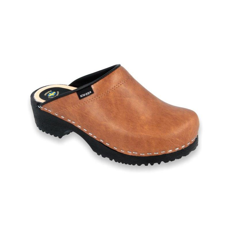 a52b082223ddf4 Comfort Clogs PU+Wood Soles Leather Antic Brown