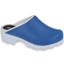 Comfort Clogs PU+Wood Soles Leather Blue