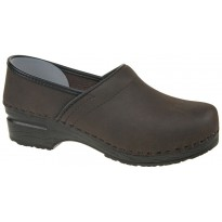 SoftClogs PU Soles Closed Back Oiled Leather Dark Brown