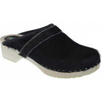 BLACK COW Wooden Clogs Cow Hide