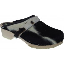 B&W COW Wooden Clogs Cow Hide