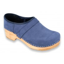 V-Black Wooden Clogs Nubuck