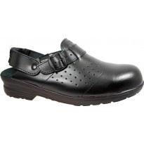 TRAKKER Safety Clogs on PU Bottoms Black