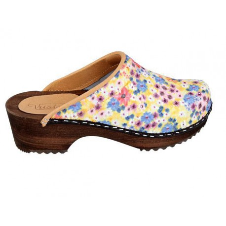SUNNY FLOWERS Wooden Clogs Embroidered