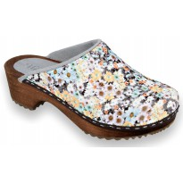 GREY FLOWERS Wooden Clogs Embroidered