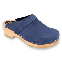 V-Navy Wooden Clogs Nubuck Navy