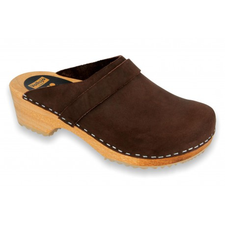 V-Brown Wooden Clogs Nubuck Dark Brown