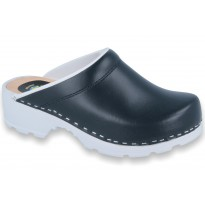 Comfort Clogs PU+Wood Soles Leather Navy-w