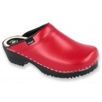 Comfort Clogs PU+Wood Soles Leather Red