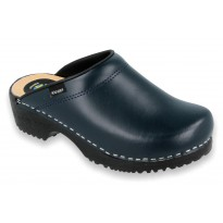 Comfort Clogs PU+Wood Soles Leather Navy